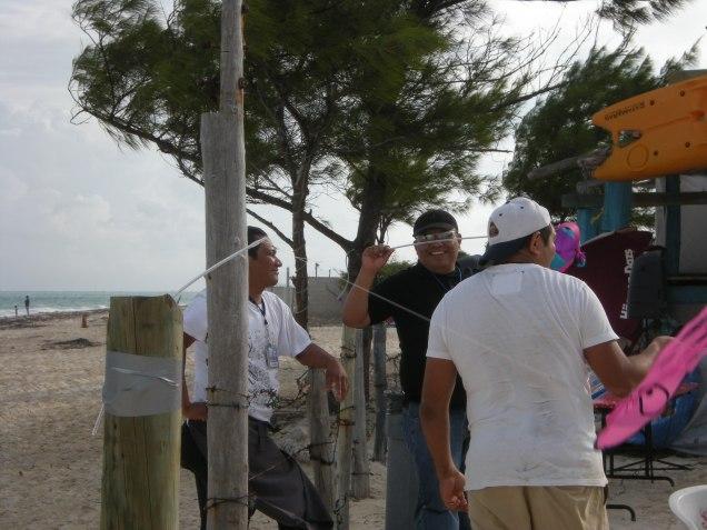 Volunteers enjoy the kites